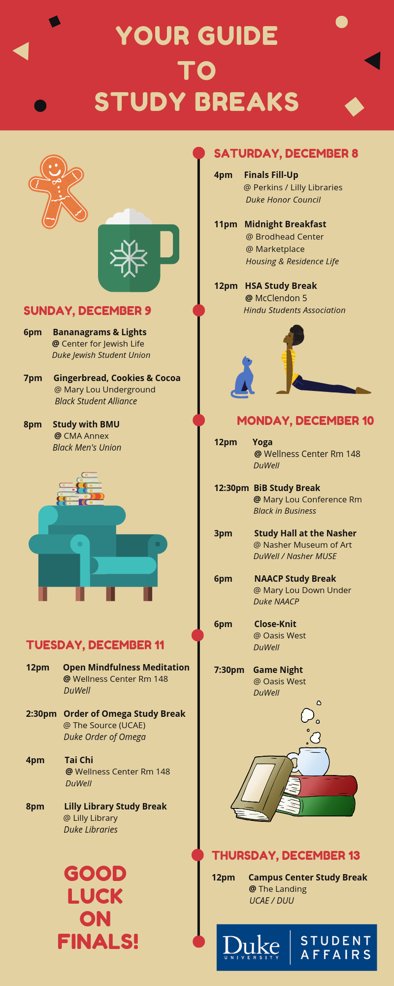 Infographic Schedule of Study Breaks at Duke - December 2018