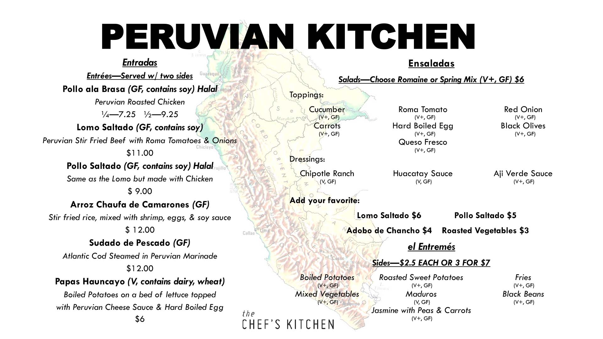 Peruvian Kitchen Menu