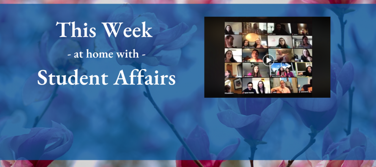 this week at home with student affairs white text on blue background with zoom meeting collage