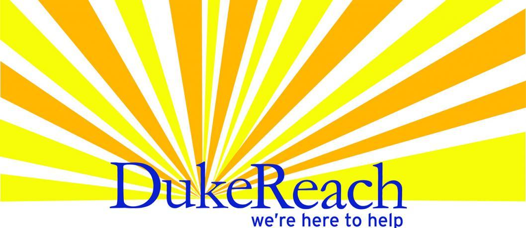 Duke Reach logo on top of sun rays graphic