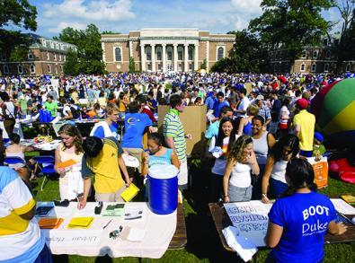 Students at outdoor activity fair