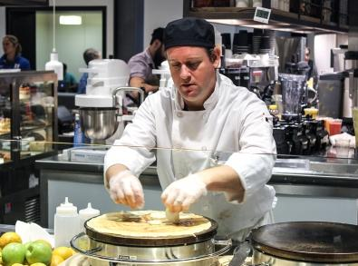 Chef making a crepe