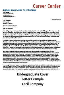 Link To Undergrad Cover Letter Example Pdf