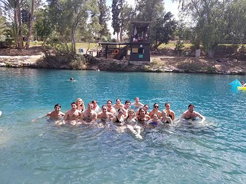 Students swim during a Birthright Israel trip.
