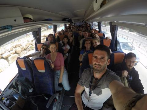 Students on a bus during a Birthright Israel trip.