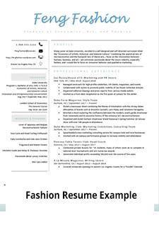 Screen shot link to fashion resume example