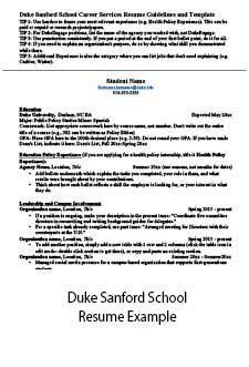 Link to accessible pdf for Sanford Public Policy resume template in MS Word.