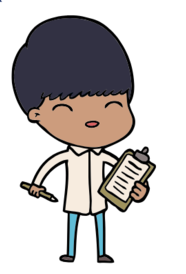 Cartoon drawing of person with clipboard