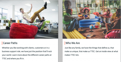 TTEC Recruiting -person jumping on a bean bag and young people celebrating.