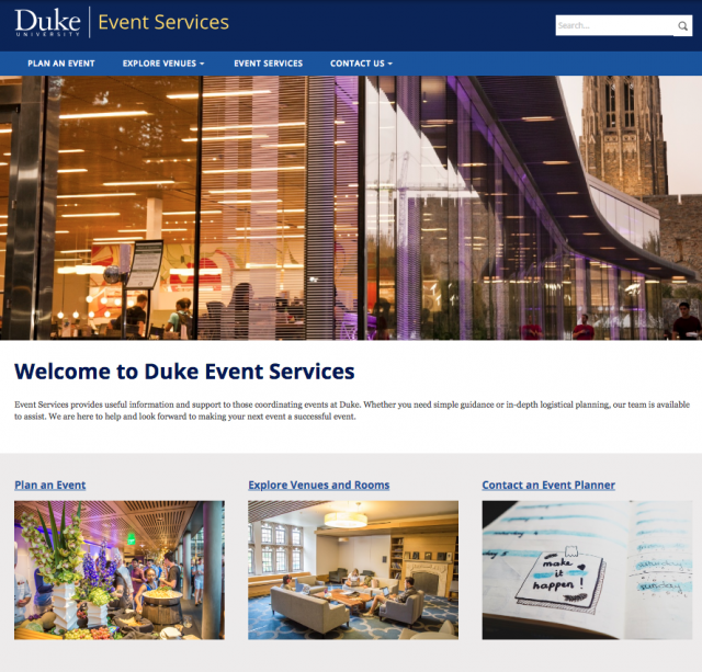 Screen Shot of the Duke Event Services Website showing a photo of Penn Pavilion and options for planning events