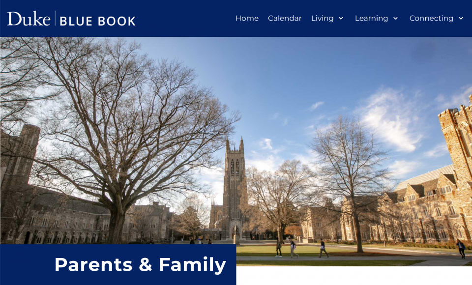 Parent and Family Blue Book Header 2020