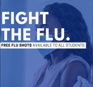 fight the flu, free flu shots available to all students white text on blue overlay of a woman with long hair receiving a flu shot