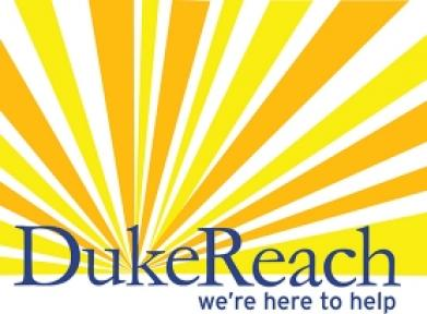 DukeReach: We're here to help - logo with sunburst