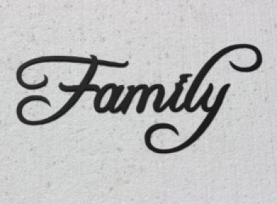 The word family written in script