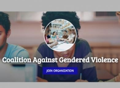 Text: Coalition Against Gendered Violence - join organization