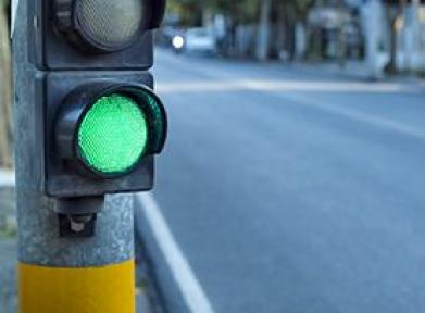 Closeup of green traffic light